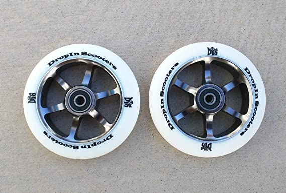 110mm DIS White Guns 6-Spoke Metal Core Scooter Wheels (Pair -2 Wheels) with ABEC-11 Bearings and Spacers Installed