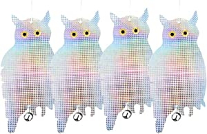 Patio Eden 4 Pack Bird Deterrent Scare Owls - Effective Hanging Bird Control Repellent