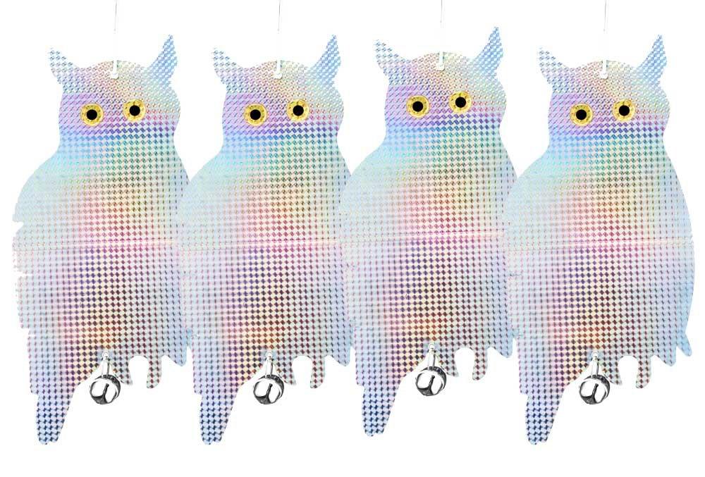 Patio Eden - 4 Pack Bird Scare Owls - Effective Hanging Bird Repellent