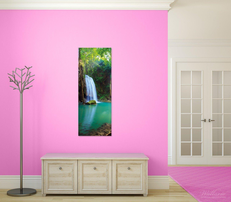 Wallario Wandgarderobe aus Glas in Größe 50 x x x 125 cm in Premium-Qualität, Motiv  Wasserfall im Wald am See Idylle in Thailand   7 Kleiderhaken Zum Aufhängen von Jacken 596d94