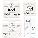 Rael Value Package 100% Organic Cotton Regular Pads, Overnight Pads, Liners and Natural Feminine Wash