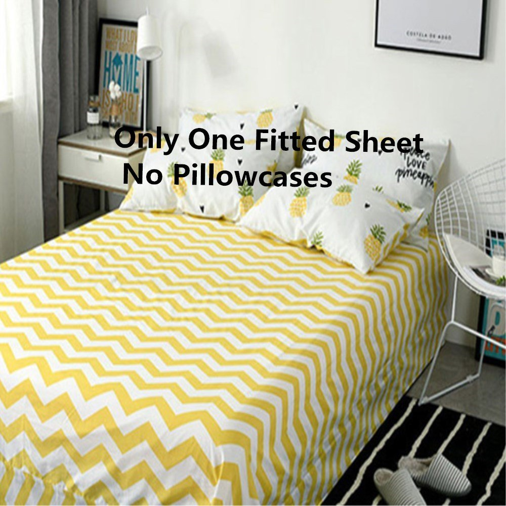 VClife Chevron Printed Fitted Sheet Cotton White Yellow Bed Sheet with Deep Pocket, Full Queen Sheet for All Seasons, Breathable, Lightweight, Soft