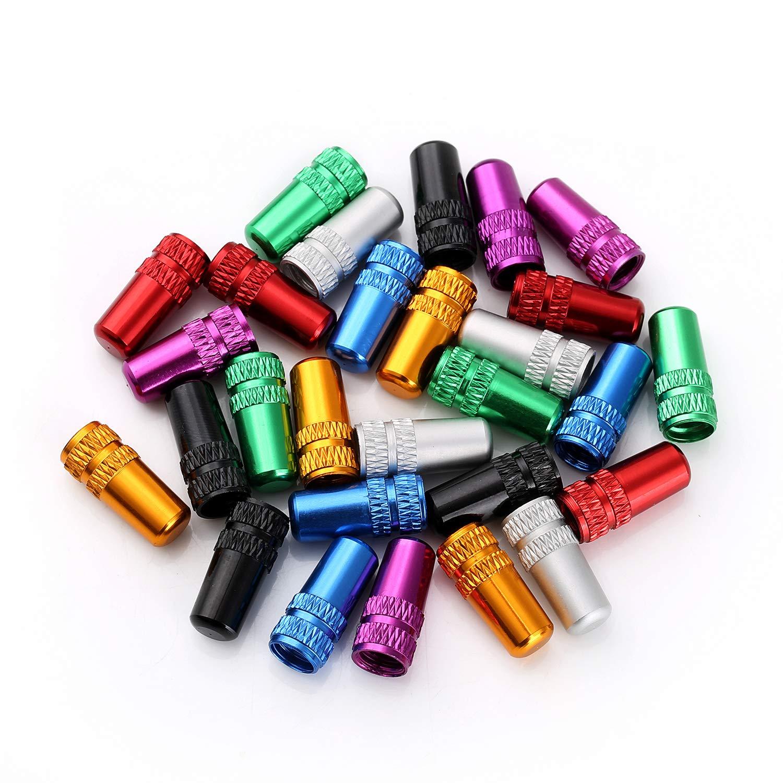 Shuxy Fahrrad Reifen Ventilkappen Französische Art Presta Ventilkappe Mehrfarbig eloxiert bearbeitet Aluminiumlegierung Staubschutz -  7 Farben, 28 Stück/Los