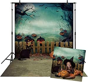 Allenjoy 5x7ft Halloween Backdrop for Kids Photography Horror Pumpkins Spooky Tree Black Cats Autumn Valley Full Moon Background Halloween Party Decor Supplies Photo Booth Banner Props