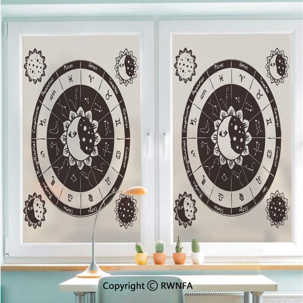 58cm by 90cm ,Black White RWNFA Non-Adhesive Privacy Window Film Door Sticker Monochrome Hand Drawn Tribal Pattern Abstract Aztec Motifs Ancient Civilizations Decorative Glass Film 22.8 in by 35.4in
