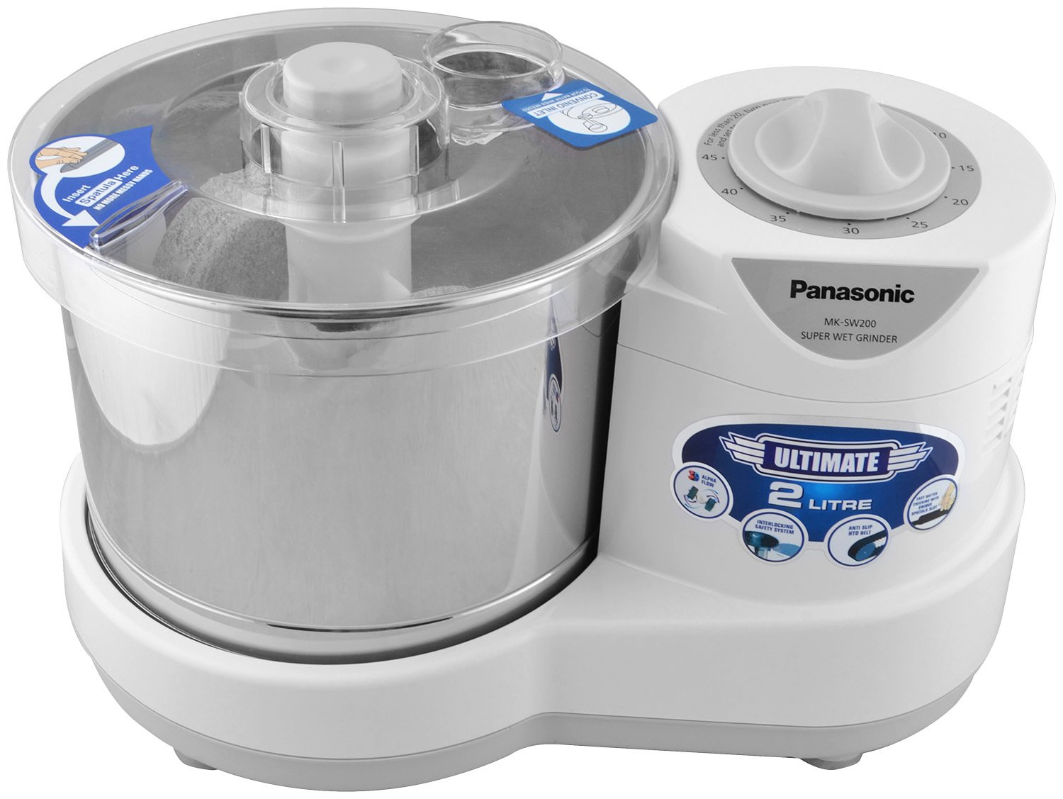 Panasonic 230-Watt Plastic Wet Grinder with an automatic timer, 2 litres, white and metallic