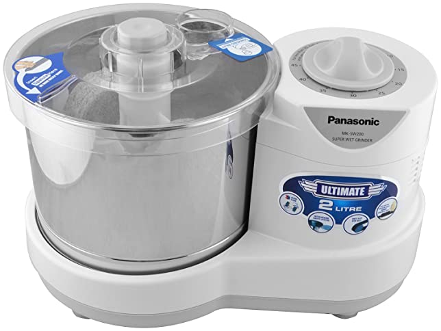 Panasonic 230-Watt Plastic Wet Grinder With Automatic Timer, 2 Litres, White and Metallic Mixer Grinders at amazon