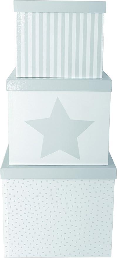 JaBaDaBaDo – Cajas Gris Juego de 3 Universal Cajas Caja de Almacenamiento (Universal Caja Cajas Estrella Pastel: Amazon.es: Hogar