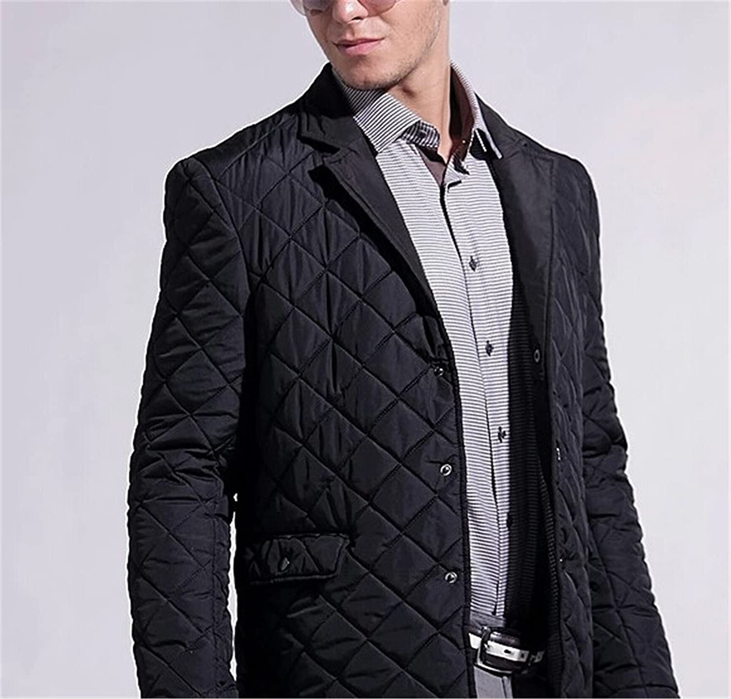 Sonjer Winter Mens Coat Jacket Cotton Solid Covered Button Padded Fashion Business Casual Quilting Patchwork Outerwear
