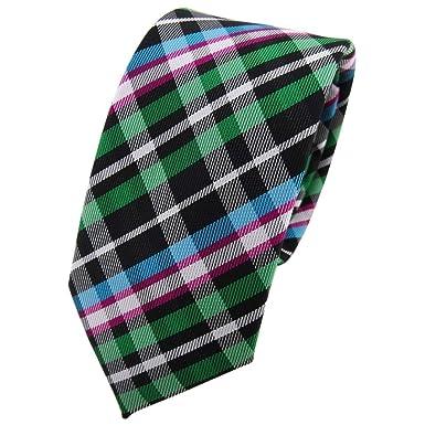 TigerTie - corbata estrecha - verde magenta turquesa negro plata a ...