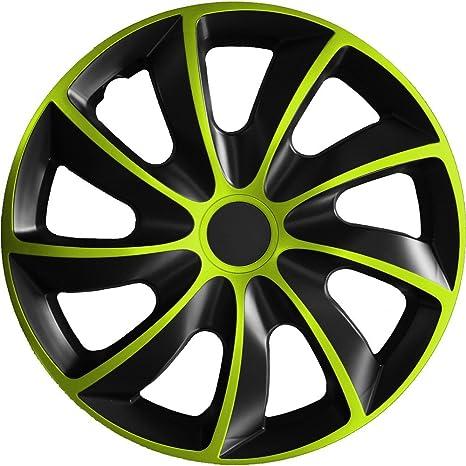 (diferentes tamaños) Tapacubos QUAD BICOLOR (Negro y verde) apto para casi todos