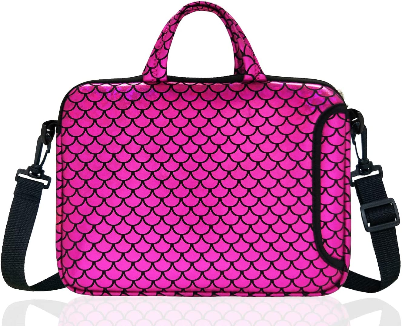"14-Inch Laptop Shoulder Carrying Bag Case Sleeve For 13"" 13.3"" 14 inch Macbook/Notebook/Ultrabook/Chromebook, Mermaid Scale (Purple)"