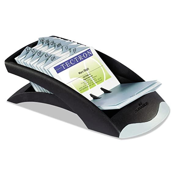 Amazon.com : Durable 241301 VISIFIX Desk Business Card File Holds 200 4 1/8 x 2 7/8 Cards, Graphite/Black : Office Products