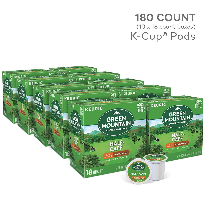Green Mountain Coffee Roasters Half Caff Medium Roast Coffee Keurig Single-Serve K-Cup Pods, 10 pk./18 ct.