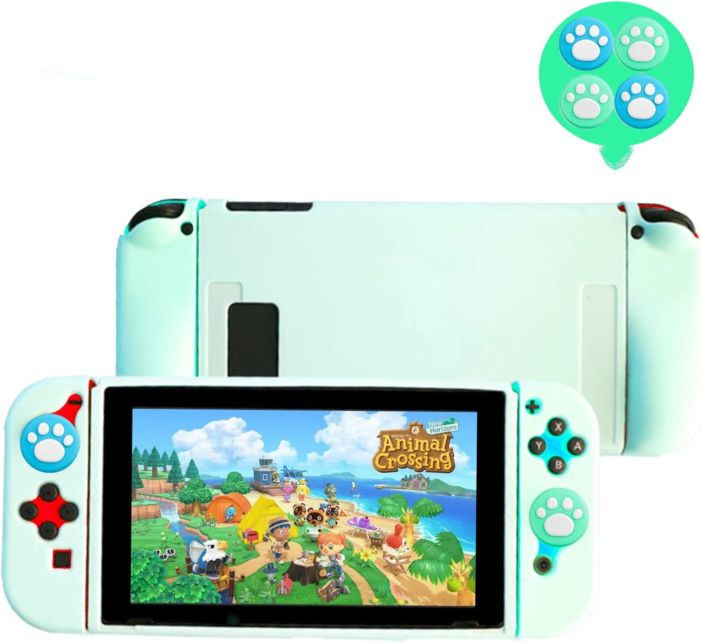 Falamiao Dockable Case for Nintendo Switch, Protective Case Cover with Soft Touch Grip Back Cover Case, NS Joy-Con Controller Housing, with Free 4 Grip Caps (Ice Blue)