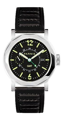 PARNIS Evolution Modelo 2132 GMT - Reloj de pulsera automático para hombre de acero inoxidable reloj Cristal de zafiro Caucho Pulsera Seagull ST25 10BAR ...