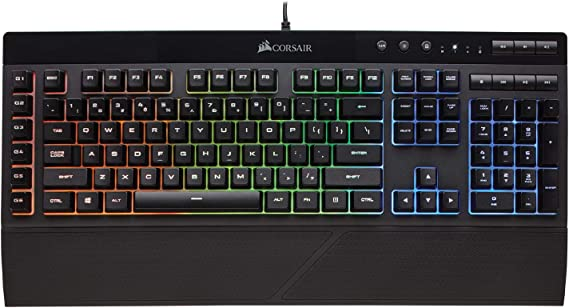 Corsair K55 RGB Gaming Keyboard – IP42 Dust and Water Resistance – 6 Programmable Macro Keys – Dedicated Media Keys - Detachable Palm Rest Included
