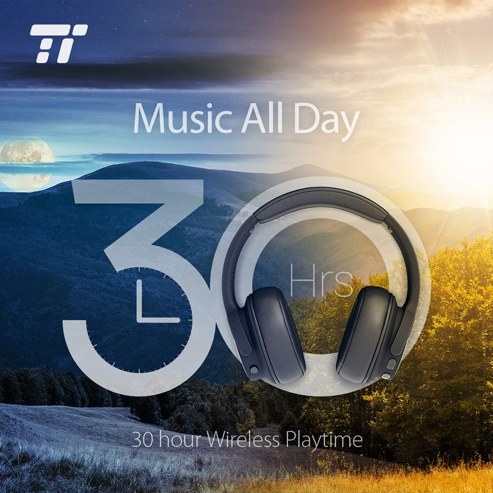 700d9d72ad0eeb TaoTronics Active Noise Cancelling Bluetooth Headphones HiFi Stereo  Wireless Over Ear Deep Bass Headset w/CVC Noise Canceling Microphone 30  Hour Playtime ...