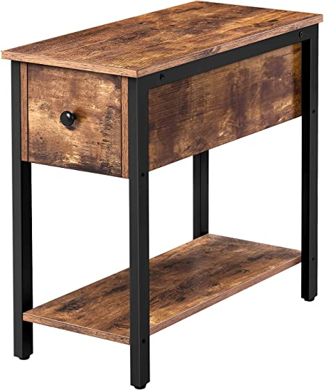 Amazon Com Hoobro Side Table 2 Tier Nightstand With Drawer Narrow End Table For Small Spaces Stable And Sturdy Construction Wood Look Accent Furniture With Metal Frame Rustic Brown And Black Bf04bz01 Kitchen