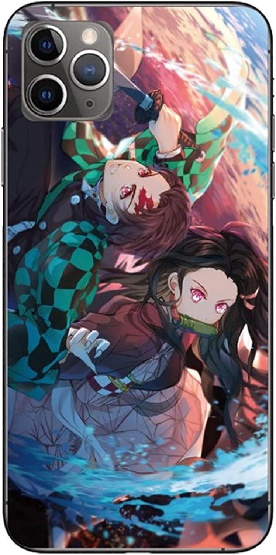 Blacklove Case for Apple iPhone, Demon Slayer: Kimetsu no Yaiba Kamado Tanjirou 9H Tempered Glass Back Cover with TPU Frame Protective Case (iPhone 6/6s)