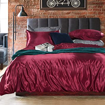 Burgundy Red, Twin Burgundy Red Bedding Silk Like Satin Duvet Cover Set Wine Red Silky Microfiber Bedding Sets Twin 1 Duvet Cover 1 Pillowcase 66x90