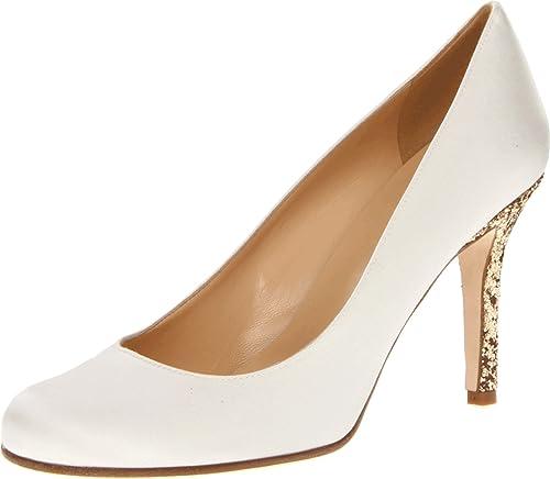 ce2ece4b9992 kate spade new york Women s Karolina Ivory Satin Gold Glitter Heel Pump ...