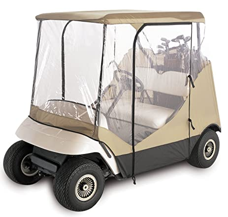 Amazon.com : 4-Sided 2-Person Golf Cart Cover Enclosure, Tan 2 ... on yamaha golf cart seat cover, yamaha drive golf cart, yamaha ez go golf cart enclosure,
