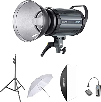 1 RT-16 Wireless Trigger Set, 6.5 Feet Light Stand, Monolight, 1 1 1 33 Inches Umbrella for Video Location and Portrait Shooting 1 Neewer 300W Studio Strobe Flash Photography Lighting Kit: Softbox,