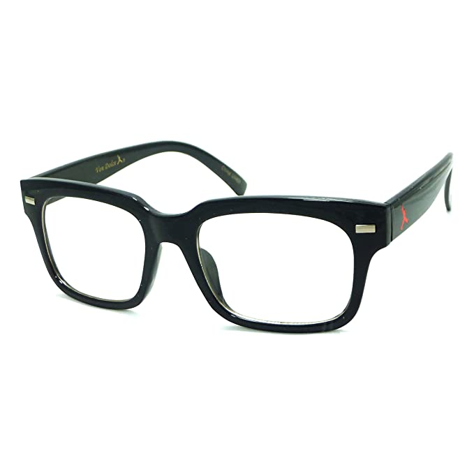 77f0e973ba RETRO Nerd Geek Horn Rim Square Peace Frame Clear Lens Eye Glasses (Black