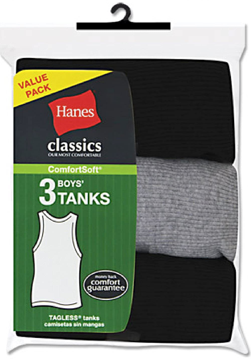 Hanes Big Boys' Tank Top (Pack of 3) Hanes underwear - Hanesbrands B392CL