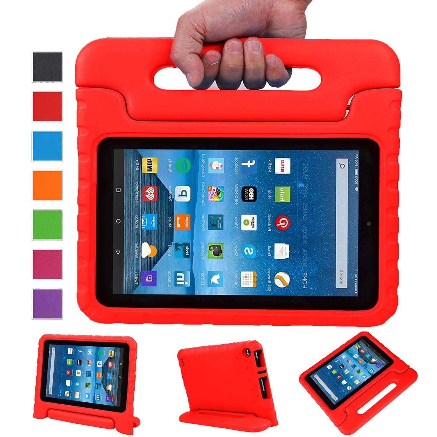 Fire 7 2015 Case, Fire 7 2017 Case, Grand Sky Super Light Weight Shock Proof Handle Protective Stand Kids Case for Fire 7 inch Display Tablet (5th Gen-2015 Release & 7th Gen-2017 Release) (Grass)