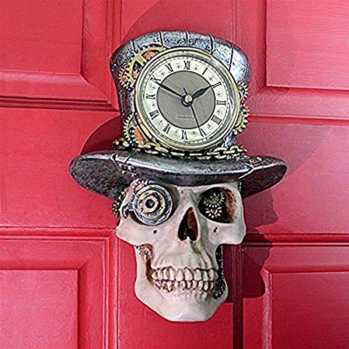 Design Toscano Steampunk Mad Hatter Skull Sculptural Wall Clock, Full Color