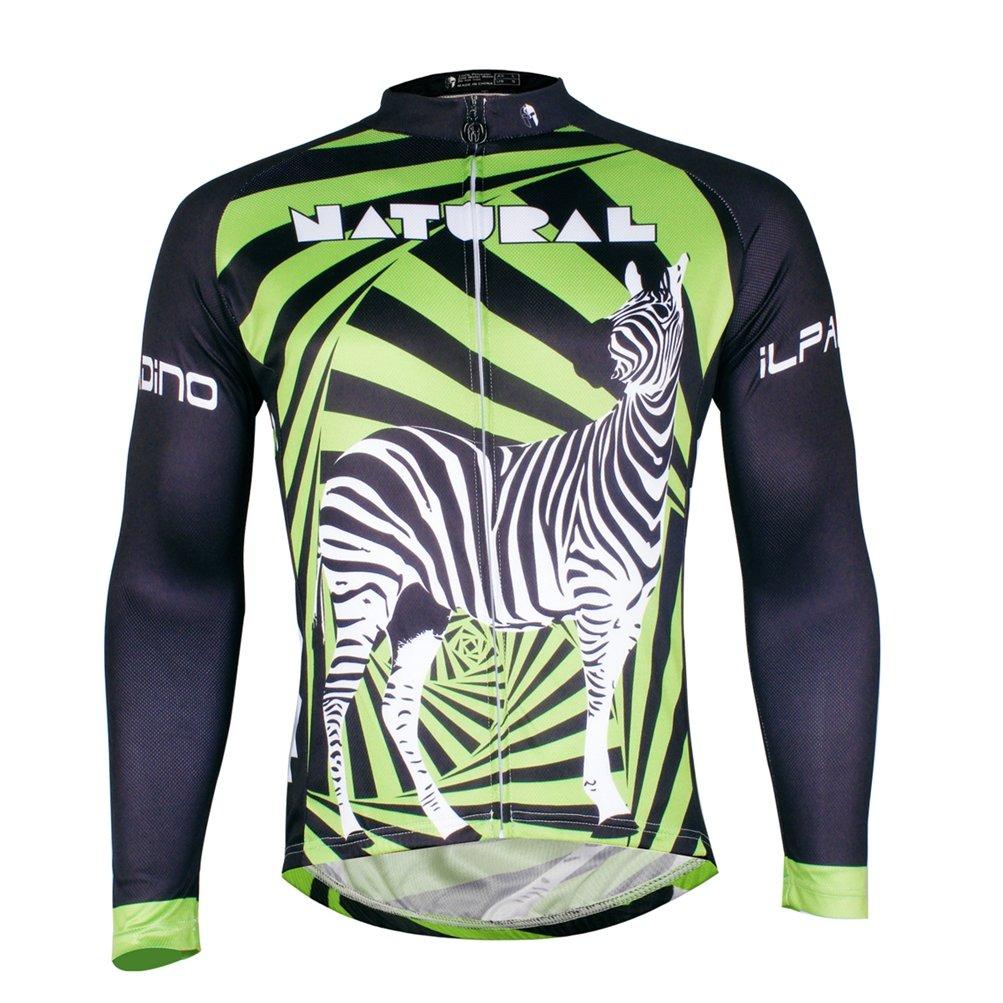 Uriahメンズ自転車ジャージ長袖熱フリースタイツ熱フリースタイツ B076DLQGT2 Chest 34.5''-36''=Tag S|Zebra Green Zebra Green Chest 34.5''-36''=Tag S