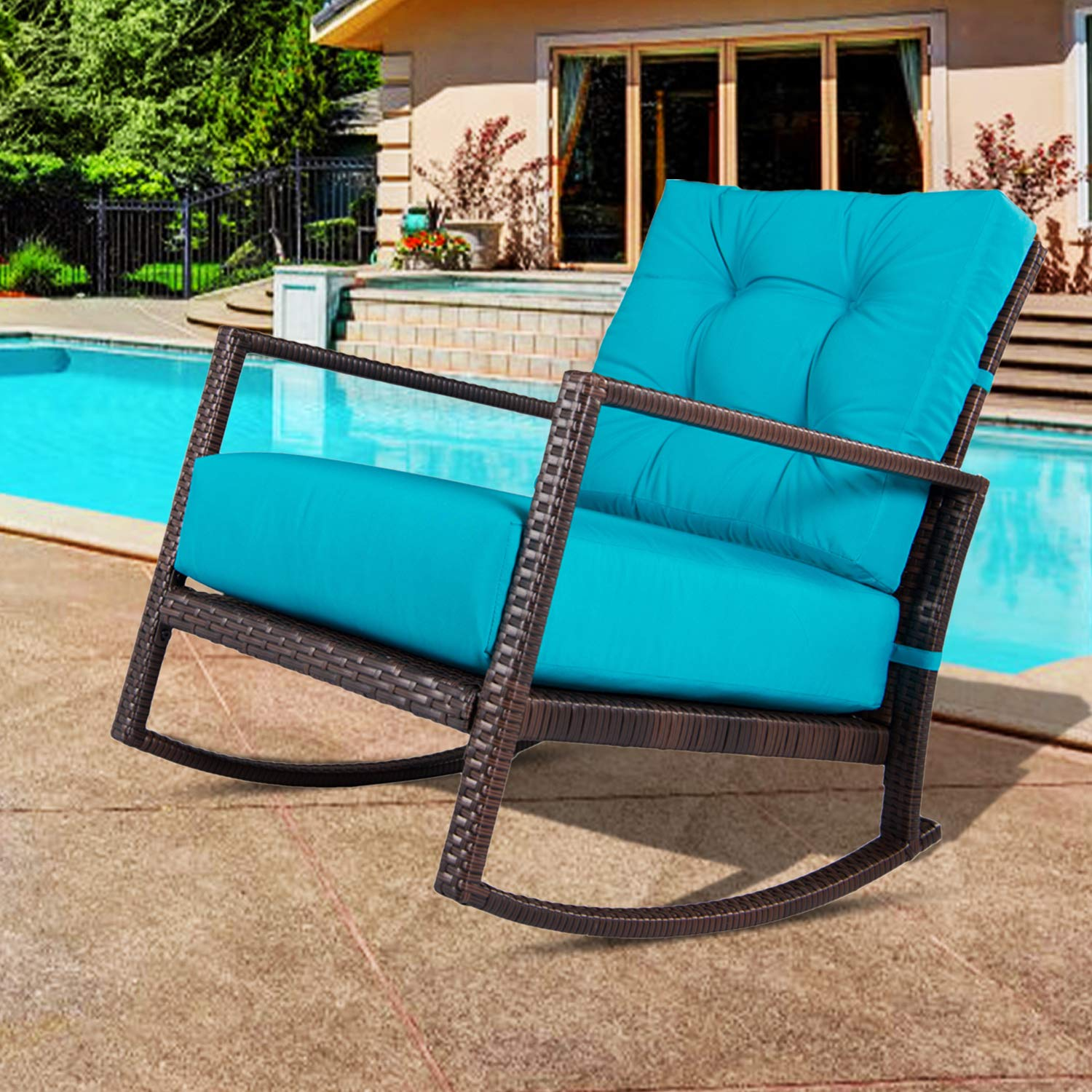 Outroad Rocking Wicker Chair Blue Lounge Chair with Thick Cushion for Outdoor, Porch, Garden, Backyard or Pool by OUTROAD OUTDOOR CAMPING GARDEN PATIO