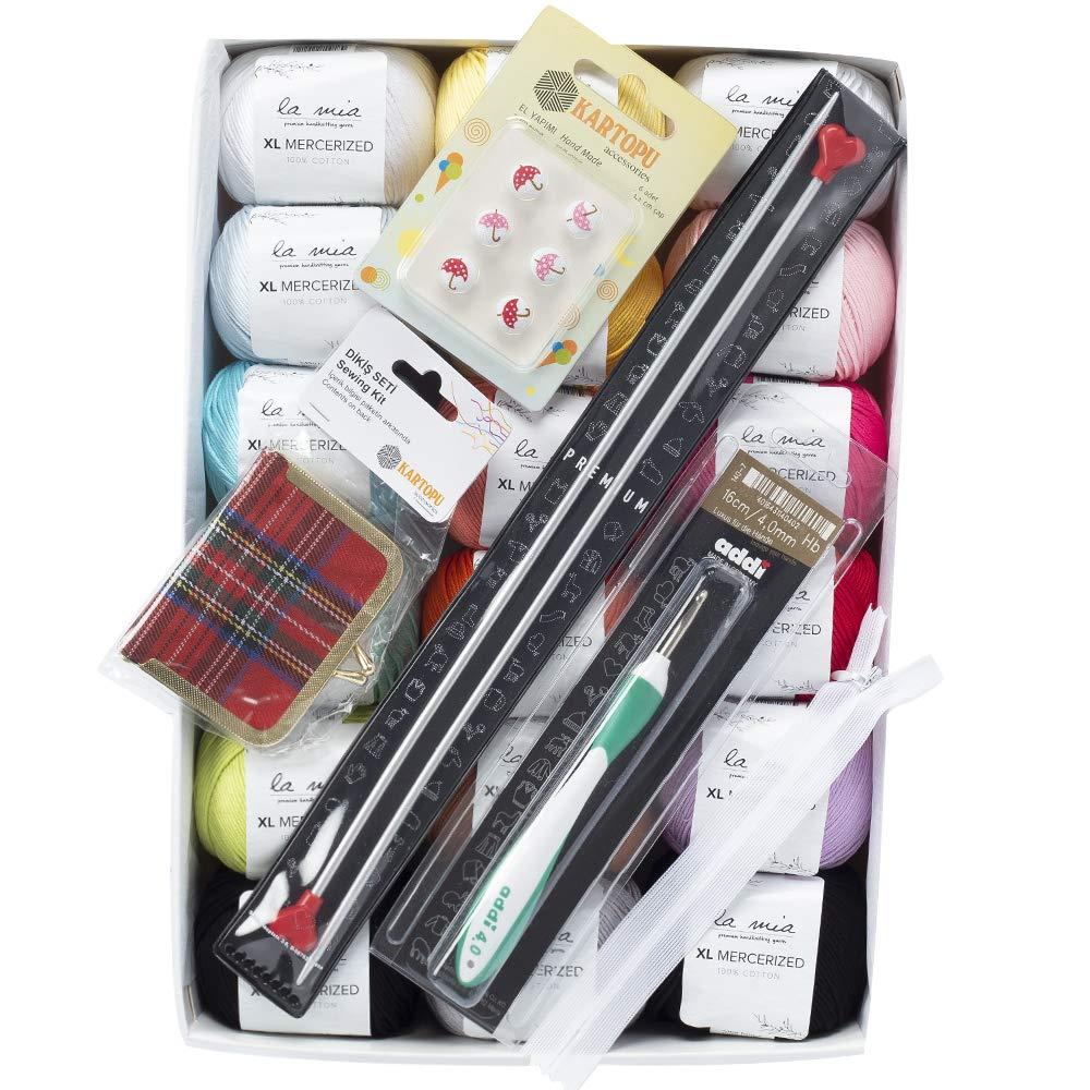 La Mia XL Mercerized Cotton Gift Set - 18 Skeins of Assorted Colors La Mia Mercerized Cotton Yarn, Each Ball 1.76 Oz (50g) / 103 Yrds (95m), Soft, 4: Worsted-Aran, Flair
