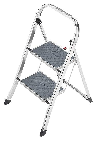 Sgabello Alluminio Pieghevole.Hailo K30 Sgabello In Alluminio Pieghevole Con Tappetini Antiscivolo 2 Passi