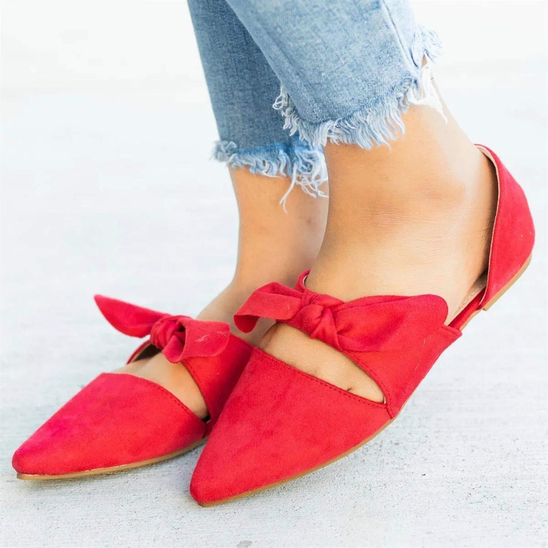 better-caress Women Shoes Bowtie Leather Elegant Low Heels Slip On Footwear,A,6.5,