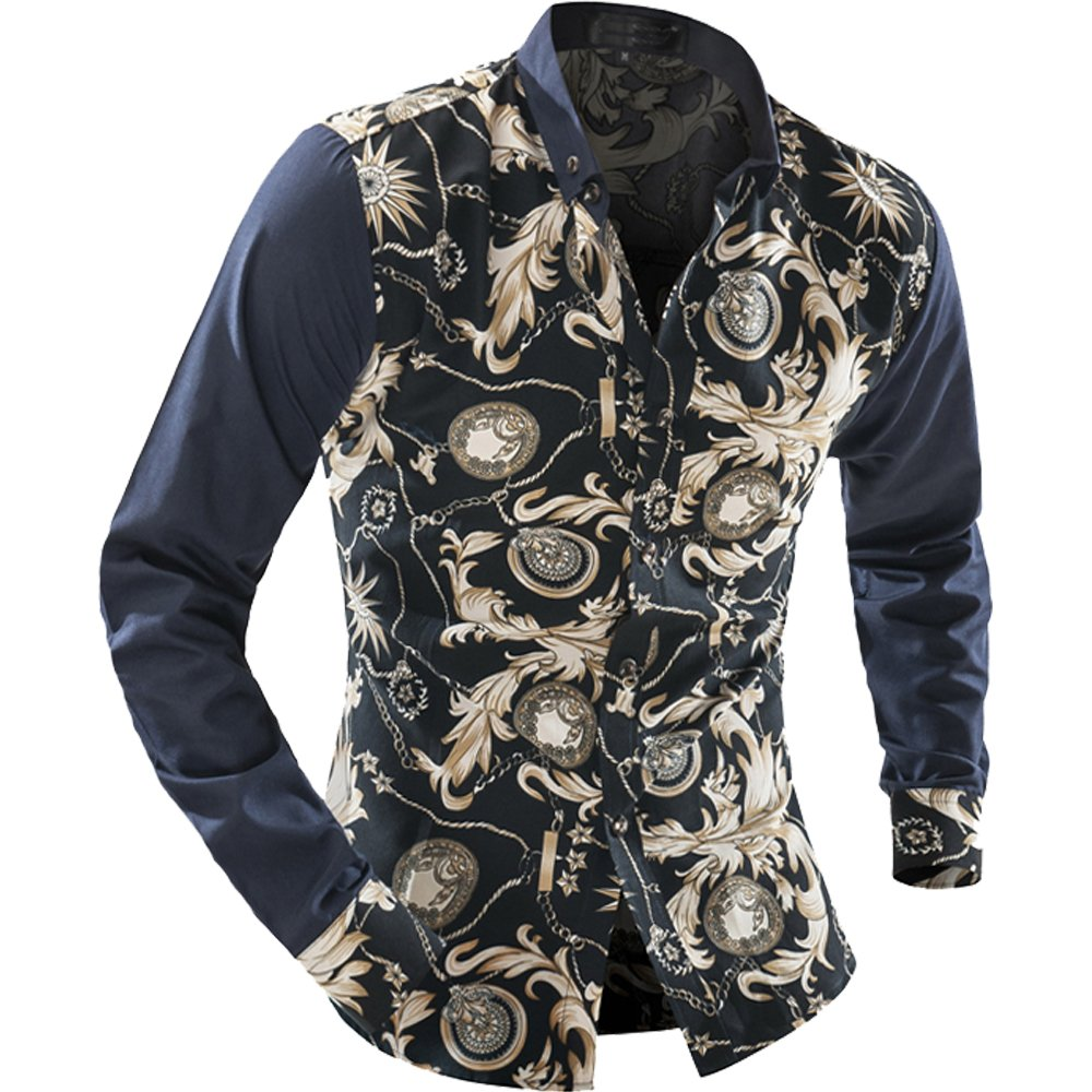 Cottory Mens Long Sleeve Slim Fit Casual Button Down Floral Shirts
