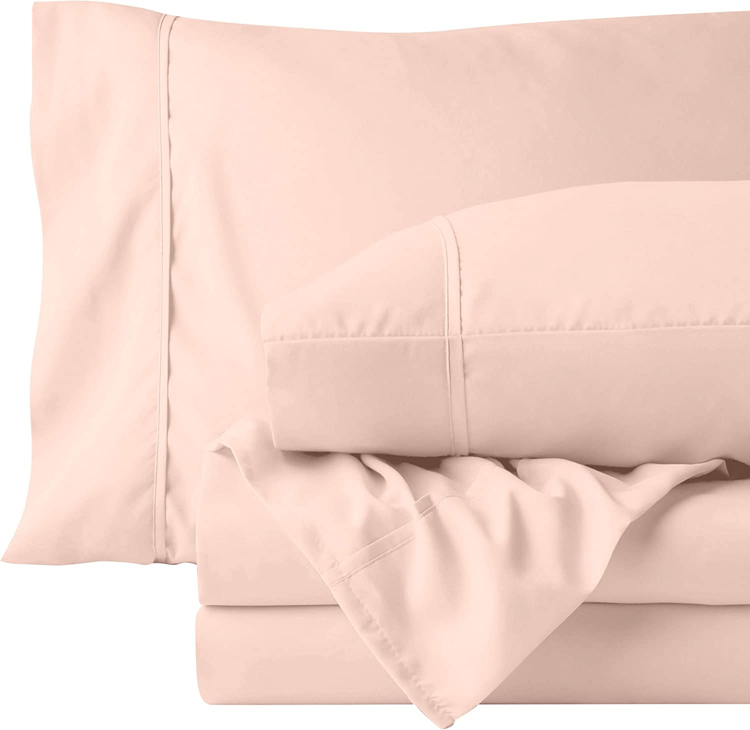 URBANHUT Egyptian Cotton Sheets Set (4 Piece) 700 Thread Count - Bedspread Deep Pocket Premium Bedding Set, Luxury Bed Sheets for Hotel Collection Sateen Weave (Blush, King)