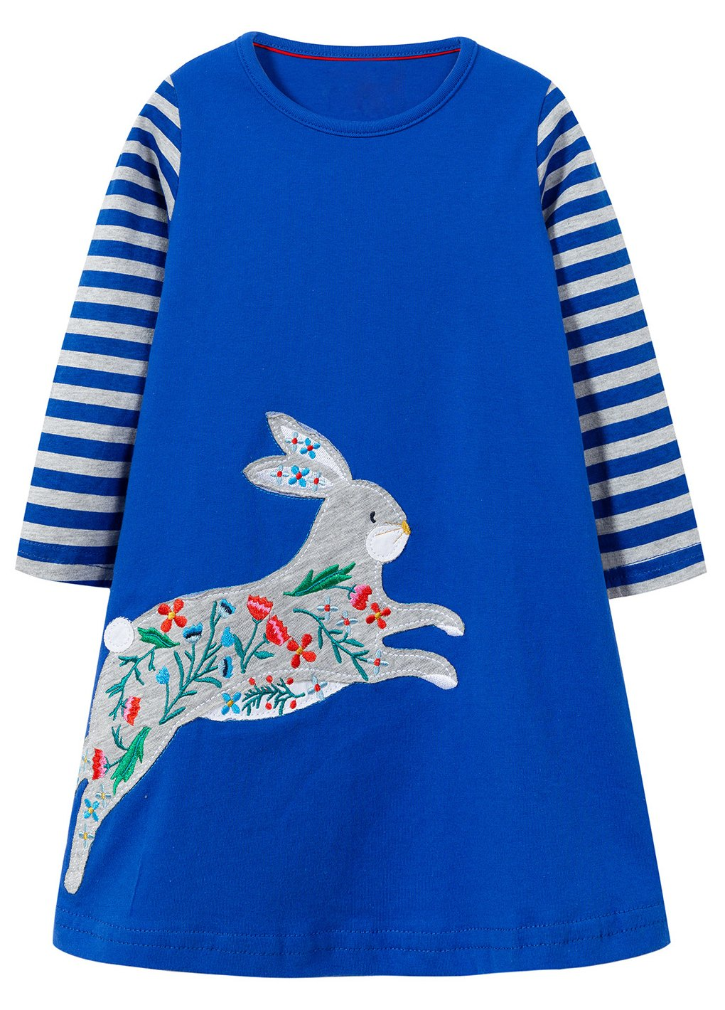 MISSHALO Girls Summer Casual Cotton Short Sleeves Printed Dresses(7665,7T/7-8YRS)