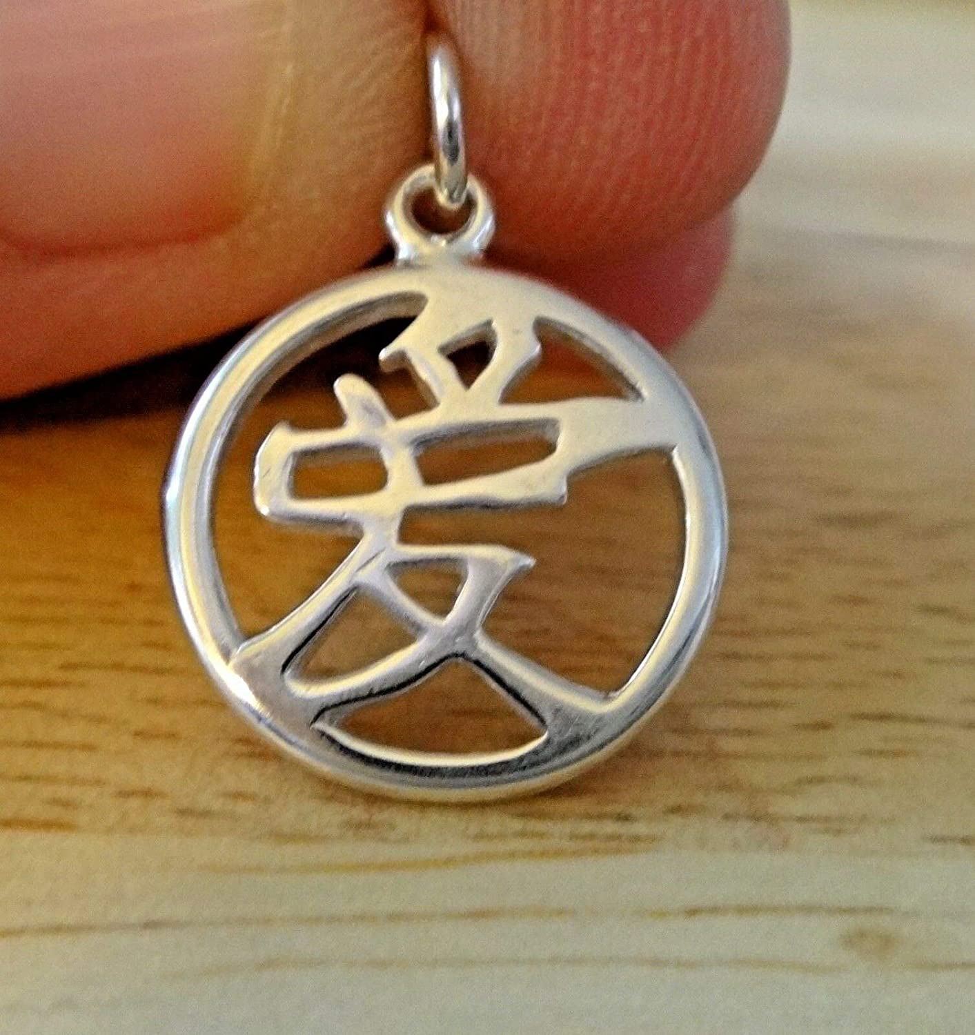 Fine Charms Sterling Silver 15mm Round Chinese Sign Symbol of Love