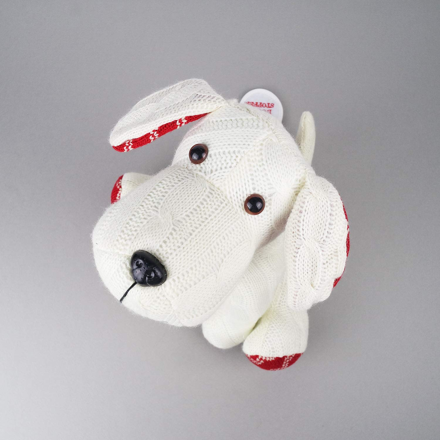 Stuffed Animal White Dog Door Stopper 1.73lb Home Decor Cable Knit Pattern by dwelling (Image #6)