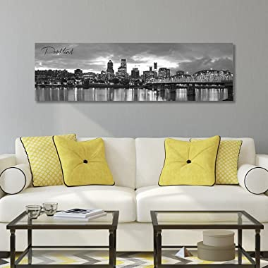 "WallsThatSpeak Panoramic Portland Cityscape Picture, Black and White Stretched Canvas Art Prints, Wall Decoration for Bedroom or Office, Framed and Ready to Hang, 14"" x 48"""