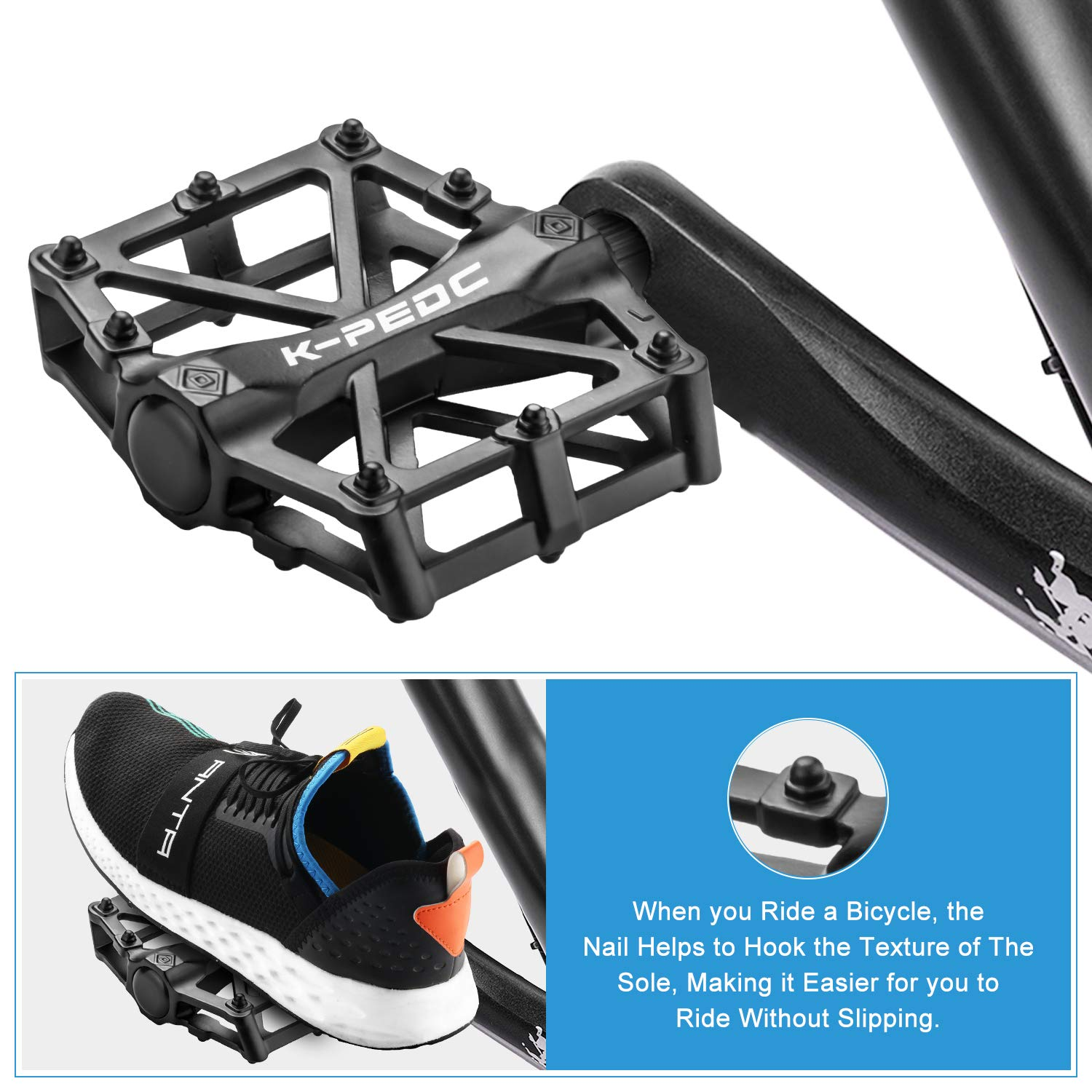 FORIZEN Bike Pedal MTB BMX Cycling Bicycle Pedals Bike Bicycle Pedals 9//16 inch Aluminum Antiskid Durable Moun tain Bike Pedals