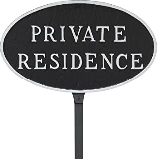 """product image for Montague Metal Products 8.5"""" x 13"""" Oval Private Residence Statement Plaque with 23"""" Lawn Stake, Black/Silver"""