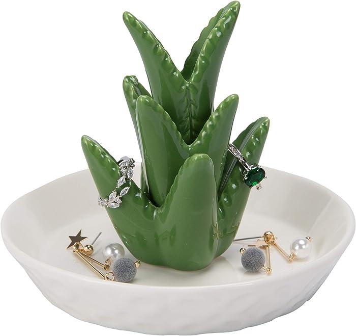 The Best Home Smile Ceramic White Elephant Ring Holder