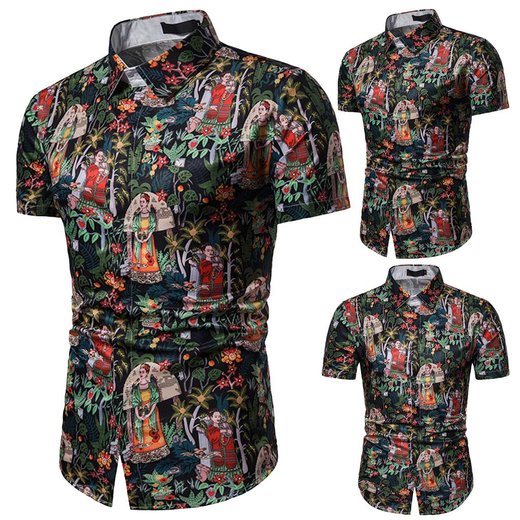 c5915221 YKARITIANNA Summer Casual Fashion Mens 3D Color Print Trend Color  Short-Sleeved Shirt Blouse 2019 at Amazon Men's Clothing store: