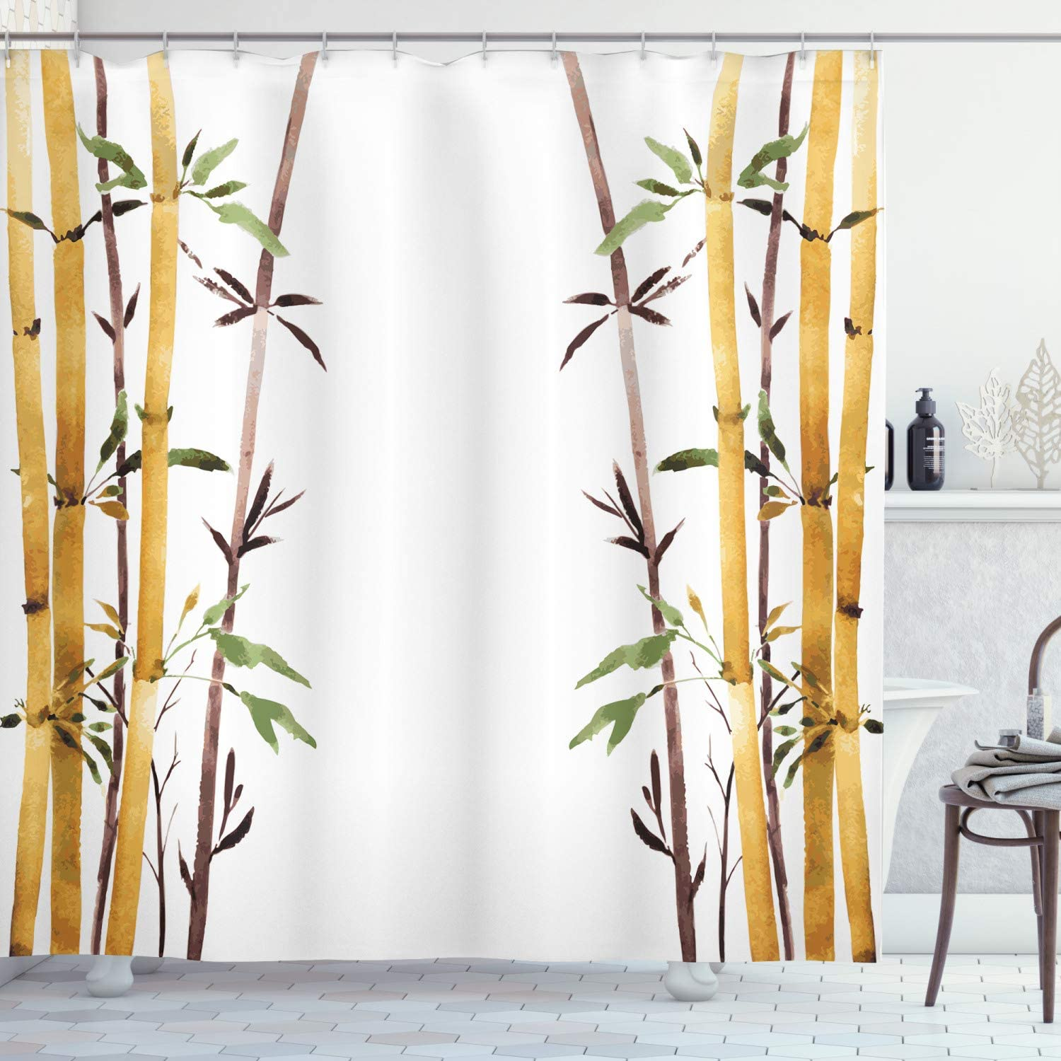 "Ambesonne Bamboo Shower Curtain, Bamboo Grove Calm Your Mind Slow Down Relax Hand Drawn Style Artwork, Cloth Fabric Bathroom Decor Set with Hooks, 70"" Long, Cream Brown"