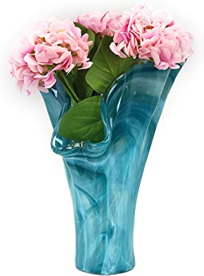 Antico Murano Hand Blown Murano Glass Teal Tall Vase, Made in Italy
