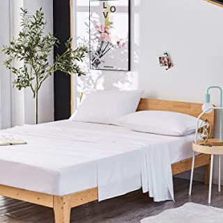 Dreaming Wapiti King Sheet Set, Double Brushed Breathable 4pcs Microfiber Bedding, Super Soft Luxury Bed Sheets with 16-inch Deep Pocket, Hypoallergenic, Wrinkle Fade Resistant (White)